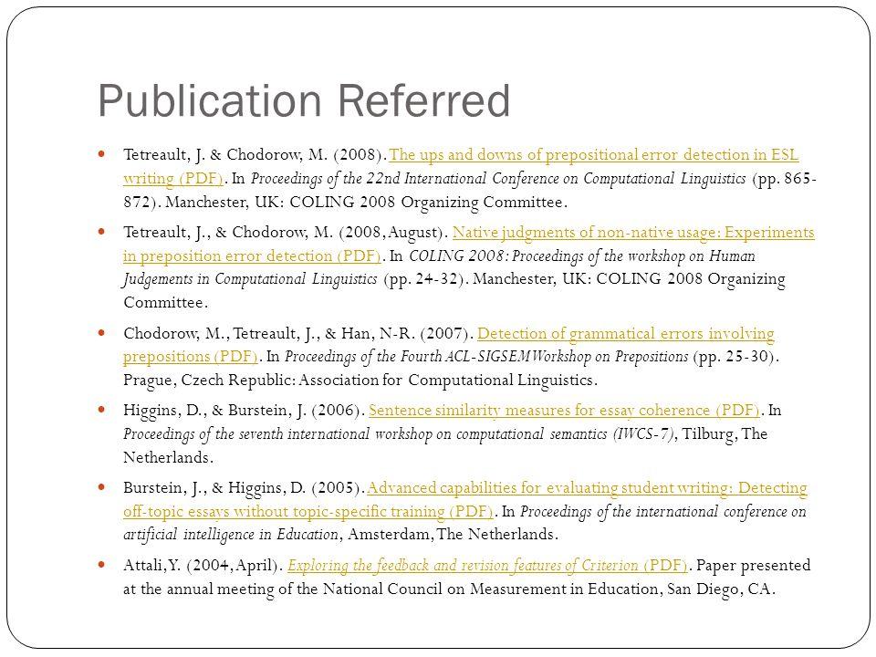 Publication Referred Tetreault, J. & Chodorow, M.