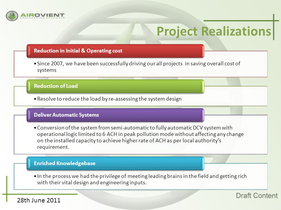 28th June 2011 Project Realizations