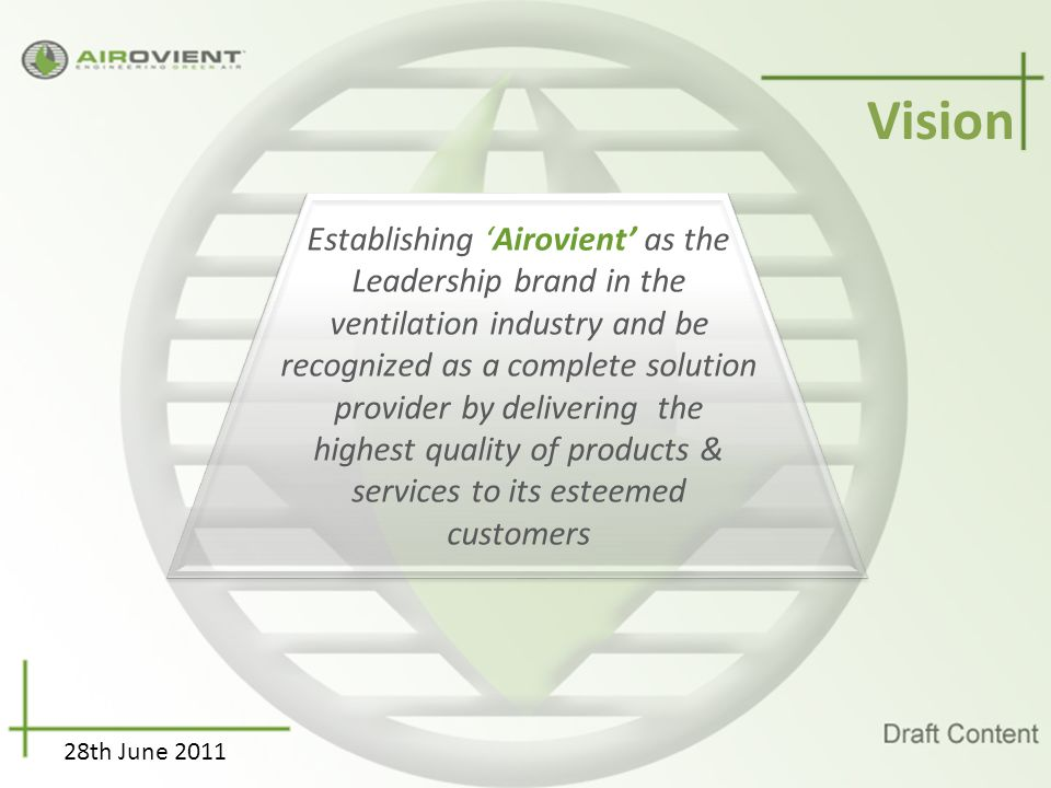 Vision 28th June 2011 Establishing 'Airovient' as the Leadership brand in the ventilation industry and be recognized as a complete solution provider b