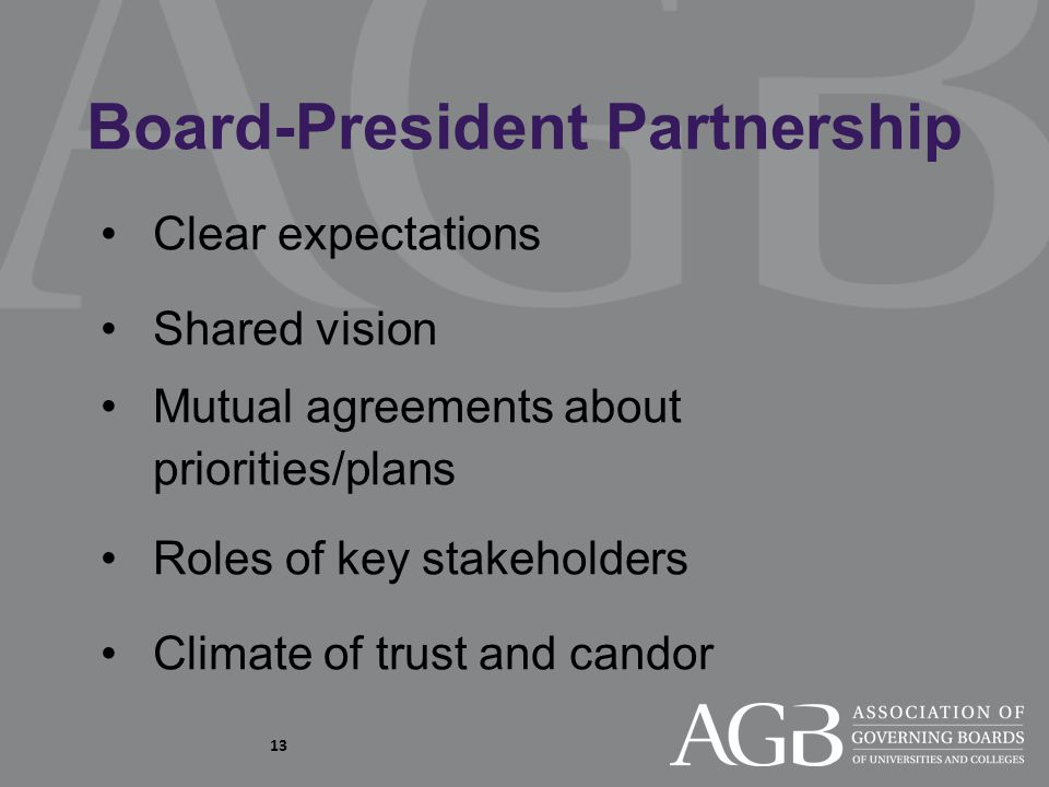 13 Clear expectations Shared vision Mutual agreements about priorities/plans Roles of key stakeholders Climate of trust and candor Board-President Partnership