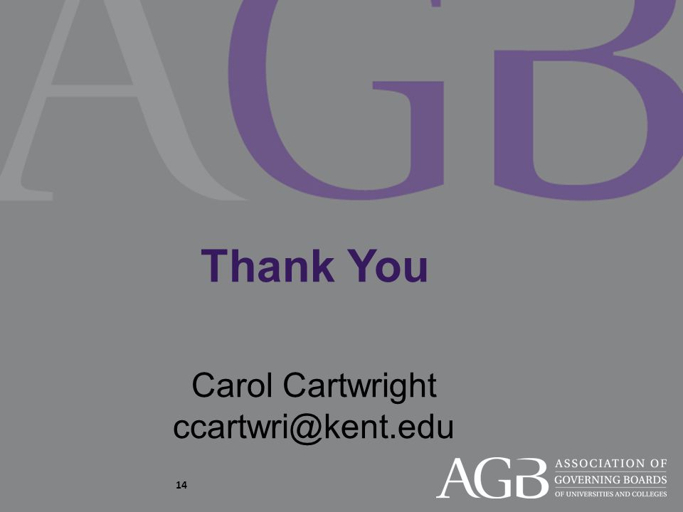 Thank You Carol Cartwright ccartwri@kent.edu 14