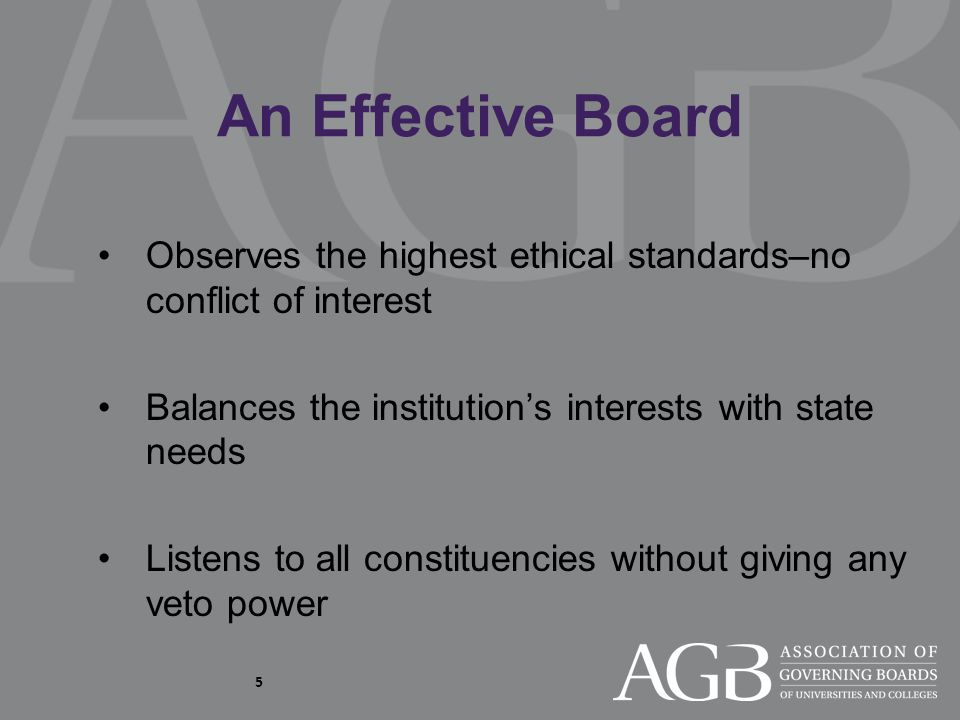 5 An Effective Board Observes the highest ethical standards–no conflict of interest Balances the institution's interests with state needs Listens to all constituencies without giving any veto power