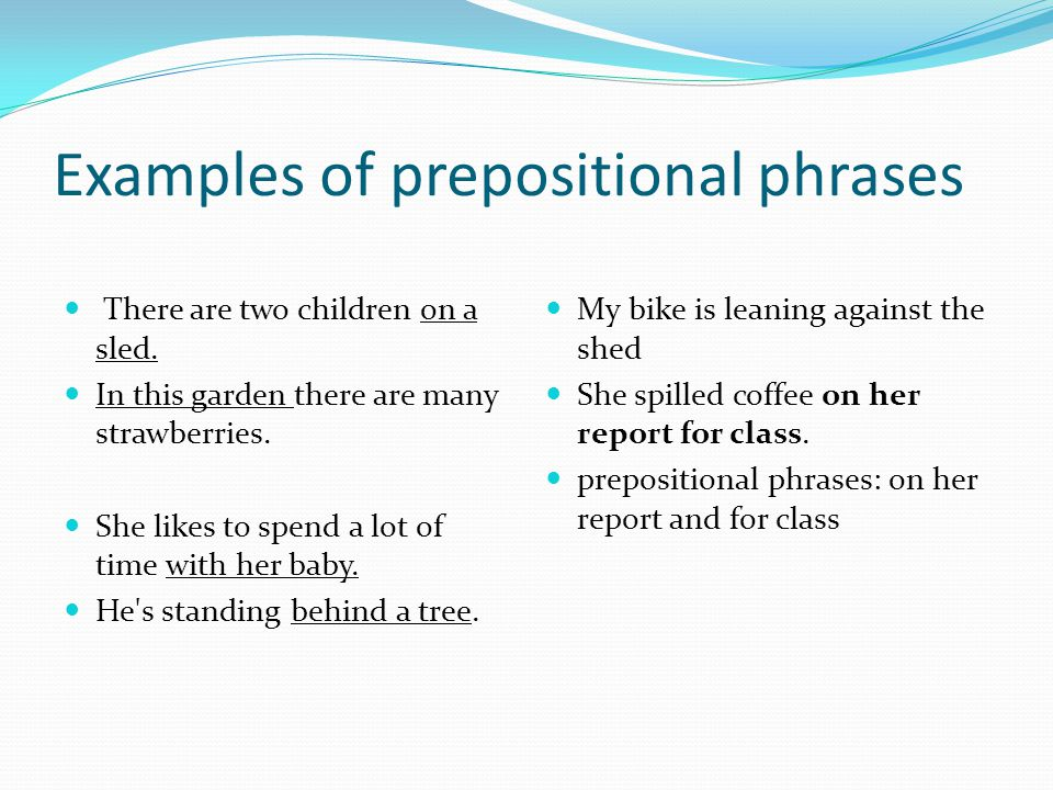 Examples of prepositional phrases There are two children on a sled.