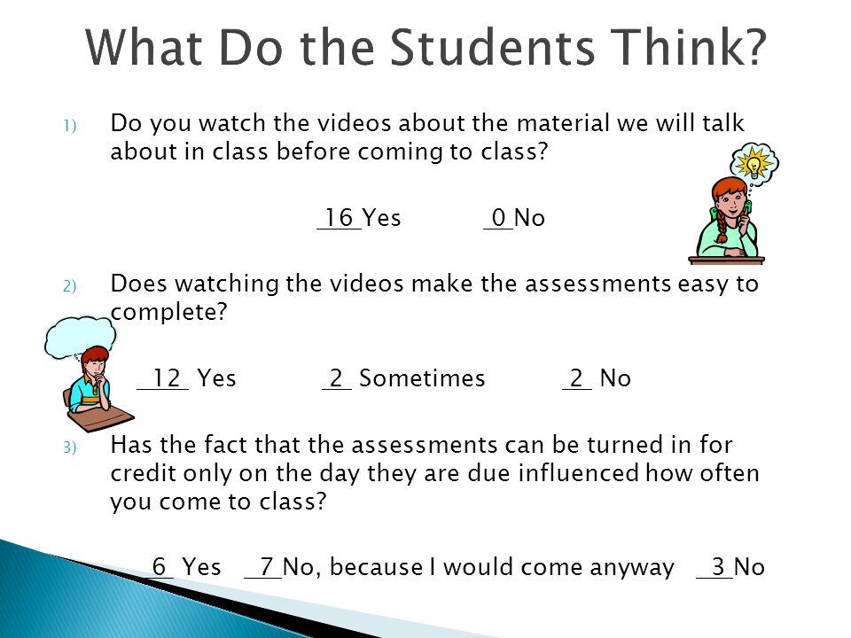 1) Do you watch the videos about the material we will talk about in class before coming to class.