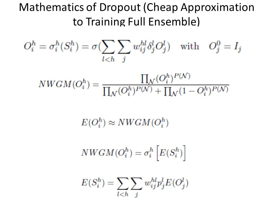 Mathematics of Dropout (Cheap Approximation to Training Full Ensemble)