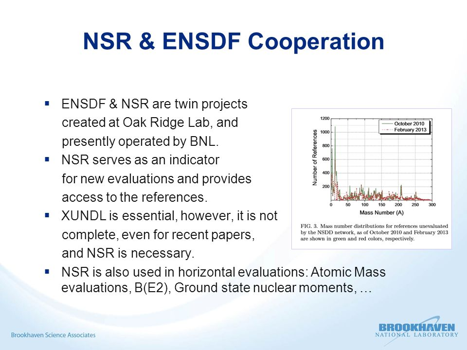 NSR & ENSDF Cooperation  ENSDF & NSR are twin projects created at Oak Ridge Lab, and presently operated by BNL.