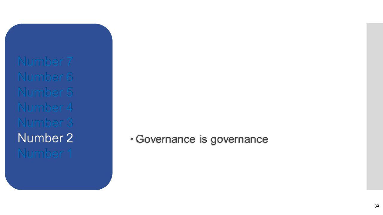  Governance is governance 32