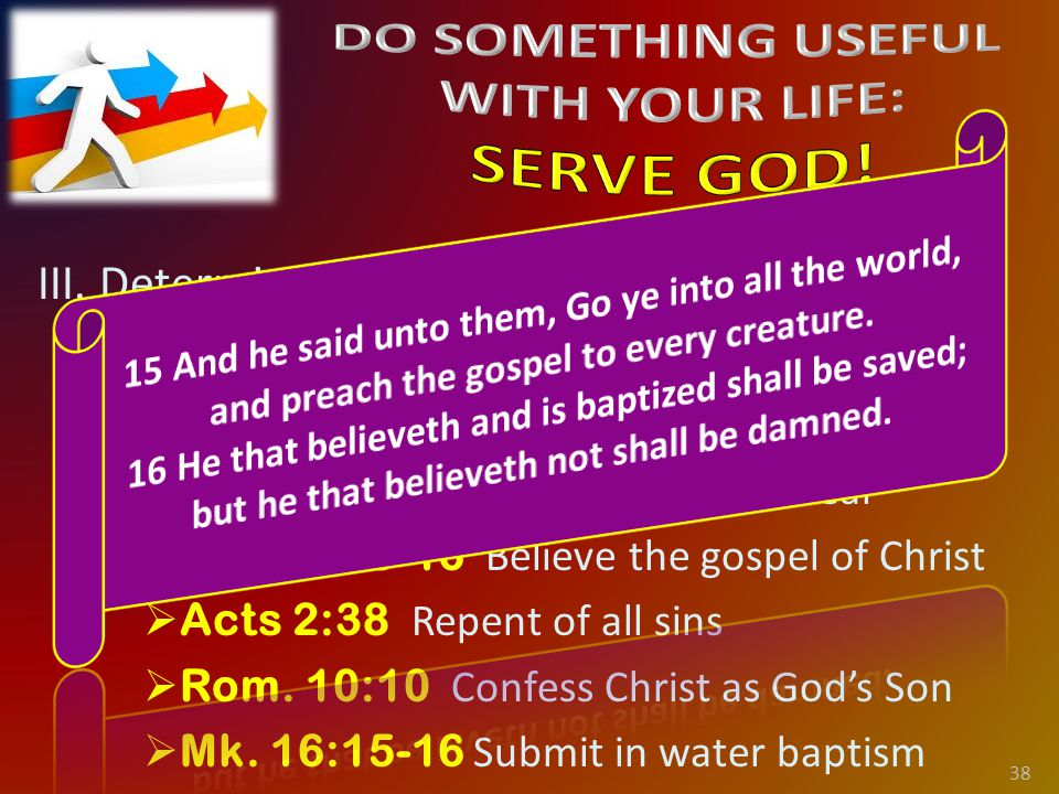 III. Determine to Serve God Today. C.
