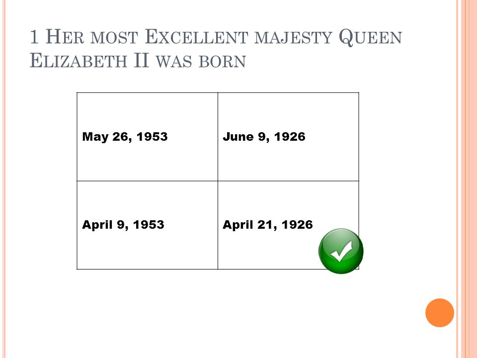 1 H ER MOST E XCELLENT MAJESTY Q UEEN E LIZABETH II WAS BORN May 26, 1953June 9, 1926 April 9, 1953April 21, 1926
