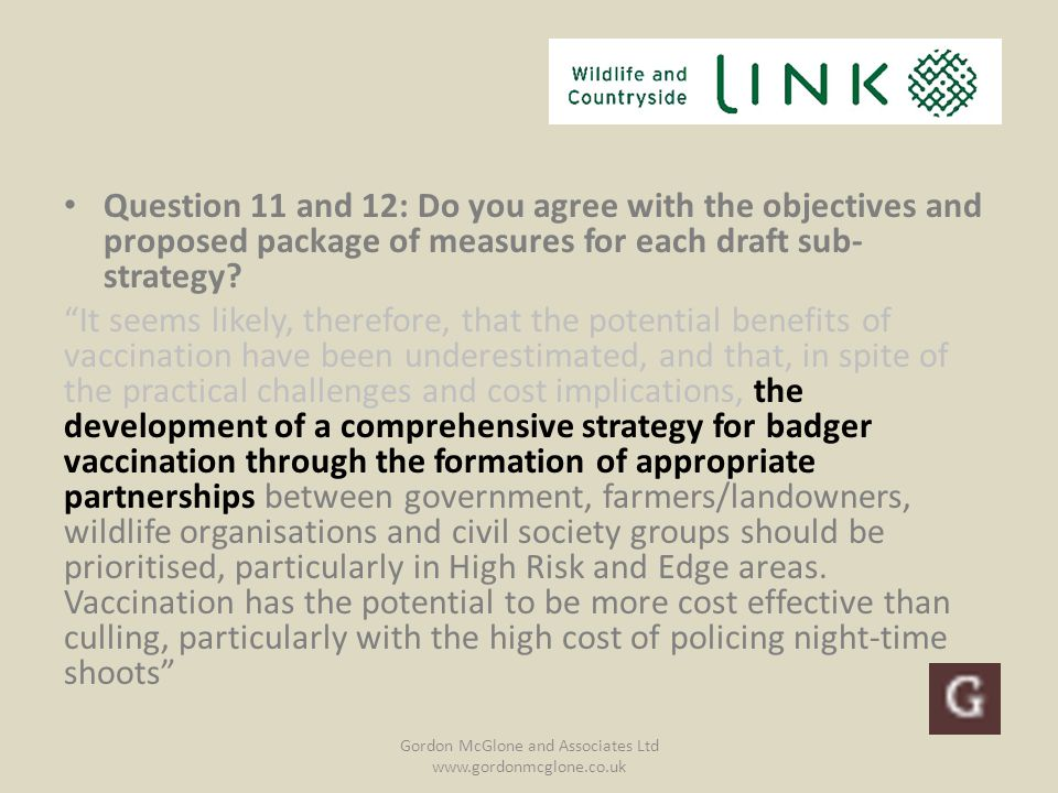 Question 11 and 12: Do you agree with the objectives and proposed package of measures for each draft sub- strategy.