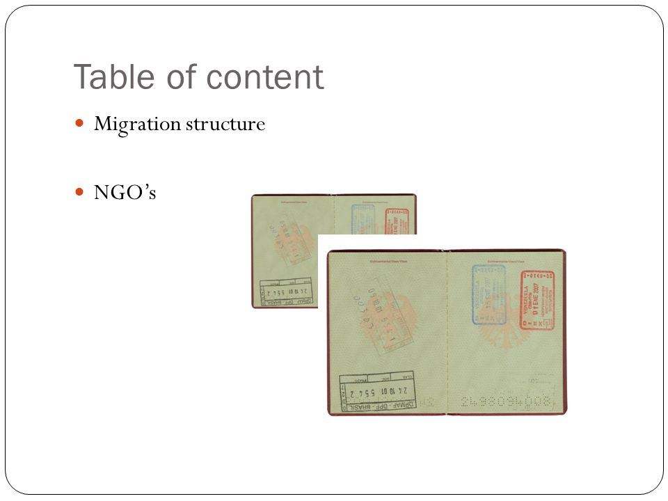 Table of content Migration structure NGO's