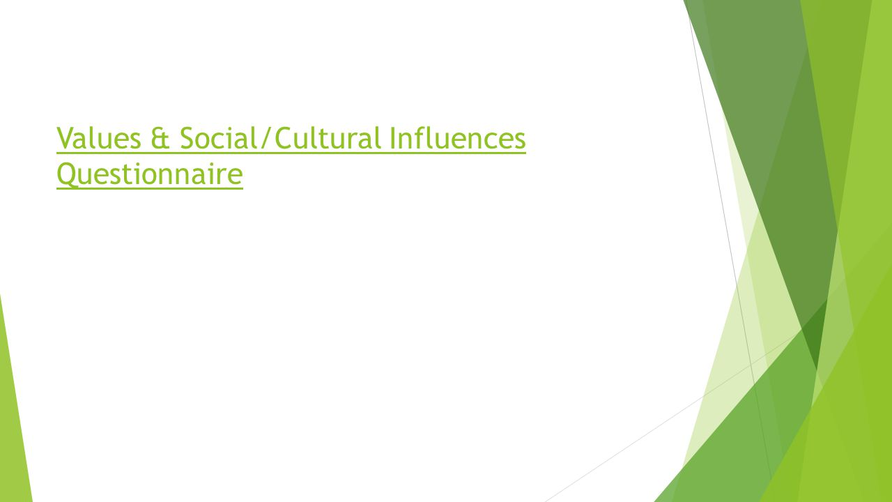 Values & Social/Cultural Influences Questionnaire