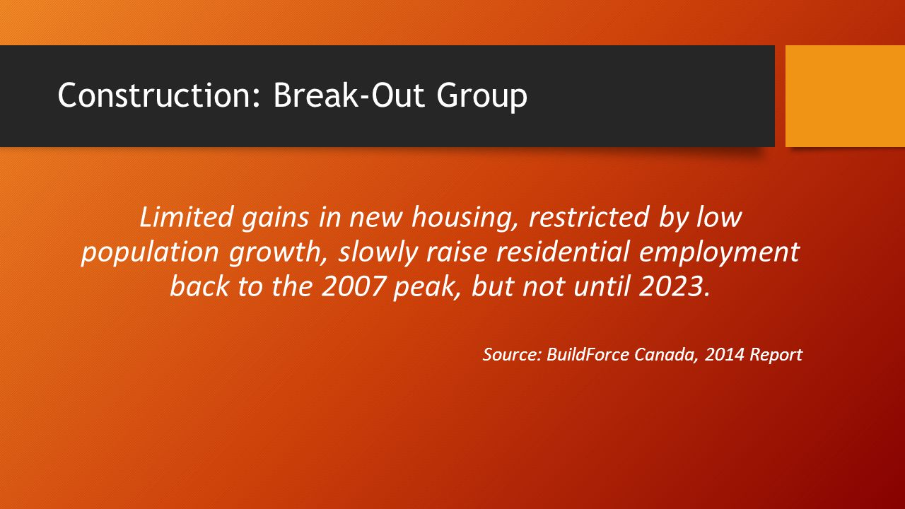 Construction: Break-Out Group Limited gains in new housing, restricted by low population growth, slowly raise residential employment back to the 2007 peak, but not until 2023.