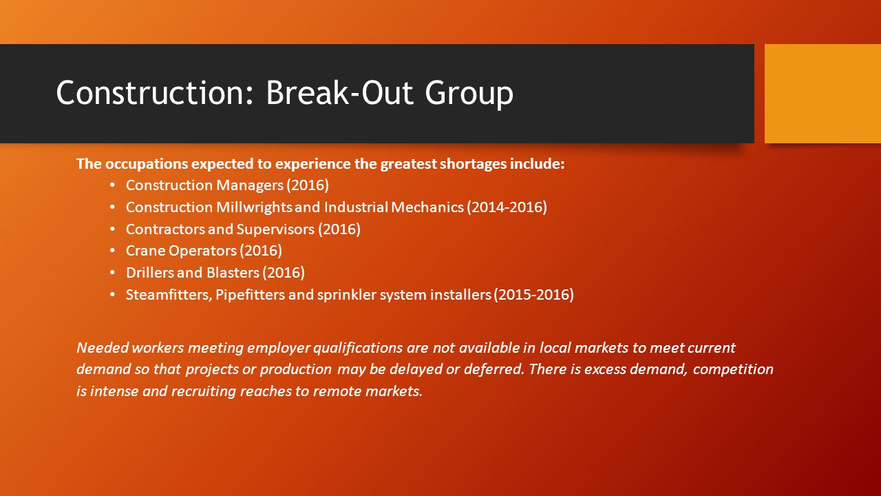 Construction: Break-Out Group The occupations expected to experience the greatest shortages include: Construction Managers (2016) Construction Millwrights and Industrial Mechanics (2014-2016) Contractors and Supervisors (2016) Crane Operators (2016) Drillers and Blasters (2016) Steamfitters, Pipefitters and sprinkler system installers (2015-2016) Needed workers meeting employer qualifications are not available in local markets to meet current demand so that projects or production may be delayed or deferred.