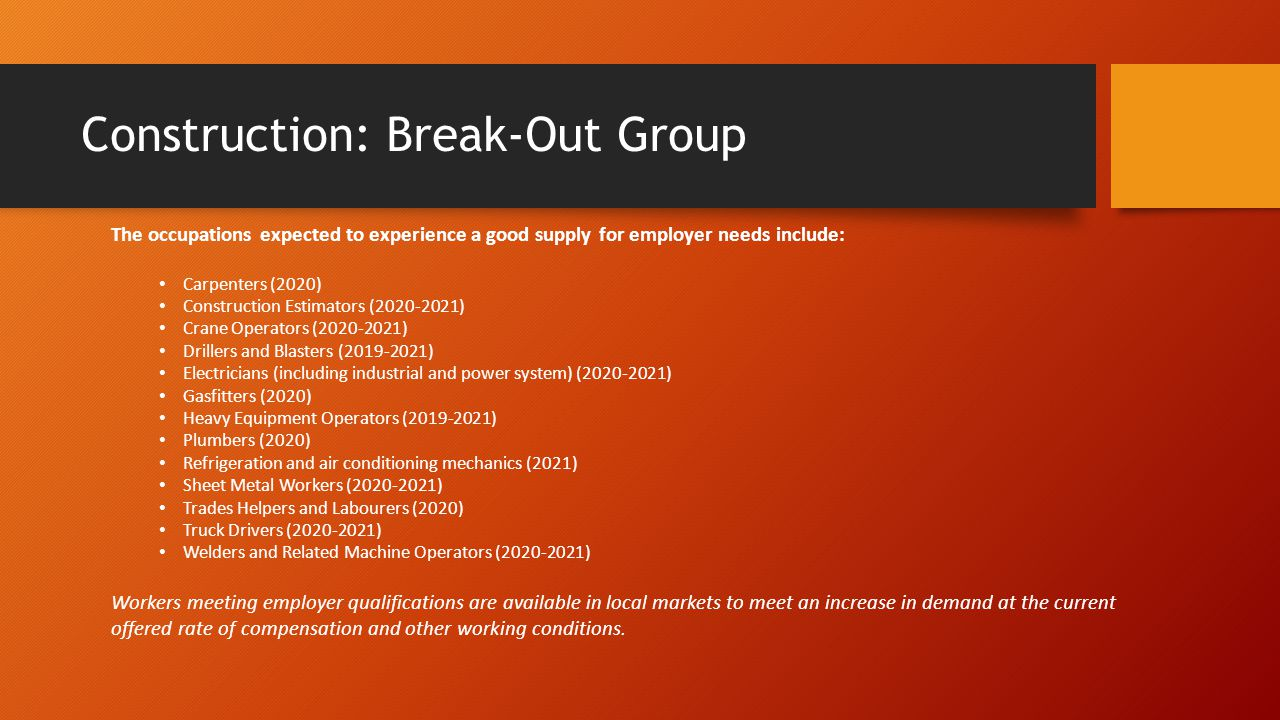Construction: Break-Out Group The occupations expected to experience a good supply for employer needs include: Carpenters (2020) Construction Estimators (2020-2021) Crane Operators (2020-2021) Drillers and Blasters (2019-2021) Electricians (including industrial and power system) (2020-2021) Gasfitters (2020) Heavy Equipment Operators (2019-2021) Plumbers (2020) Refrigeration and air conditioning mechanics (2021) Sheet Metal Workers (2020-2021) Trades Helpers and Labourers (2020) Truck Drivers (2020-2021) Welders and Related Machine Operators (2020-2021) Workers meeting employer qualifications are available in local markets to meet an increase in demand at the current offered rate of compensation and other working conditions.