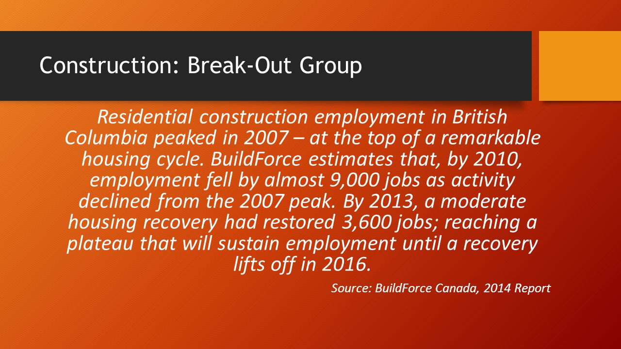 Construction: Break-Out Group Residential construction employment in British Columbia peaked in 2007 – at the top of a remarkable housing cycle. Build