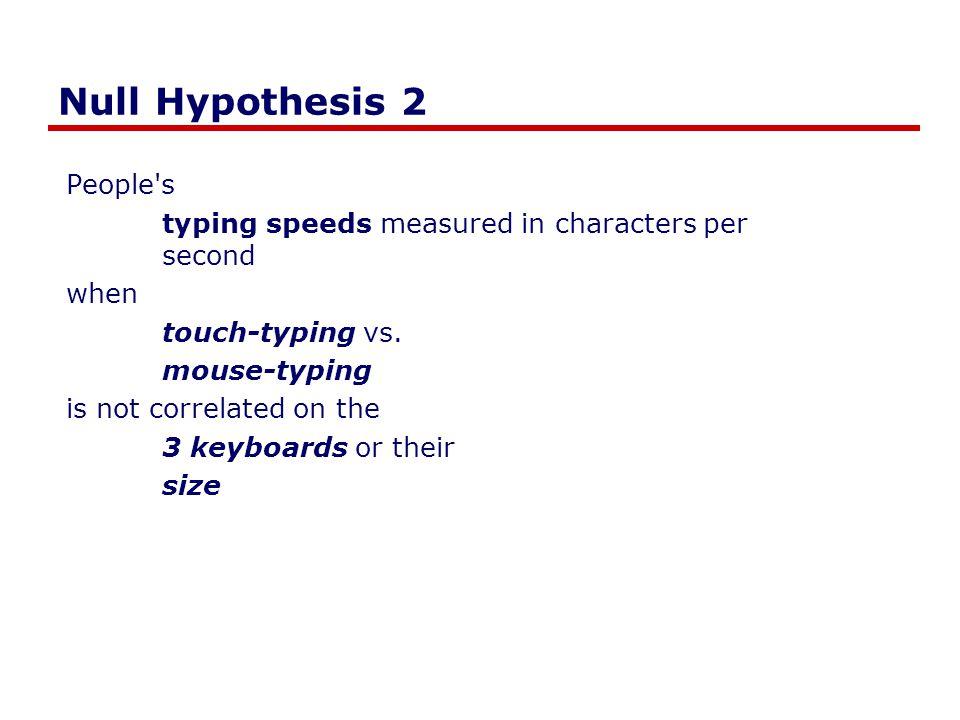 Experimental Design (Regression) Mouse typing speed QwertyAlphabeticRandom SmallLargeSmallLargeSmallLarge Physical Typing speed S 1 (t 1,t 2) S 2 (t 1,t 2) … S n (t 1,t 2) same