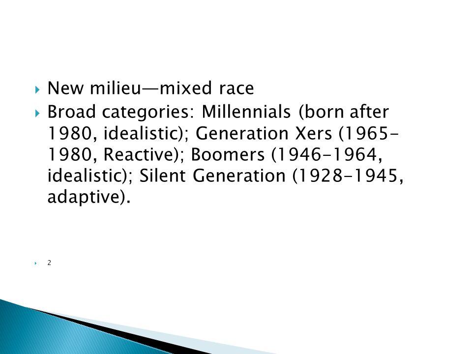  New milieu—mixed race  Broad categories: Millennials (born after 1980, idealistic); Generation Xers (1965- 1980, Reactive); Boomers (1946-1964, idealistic); Silent Generation (1928-1945, adaptive).