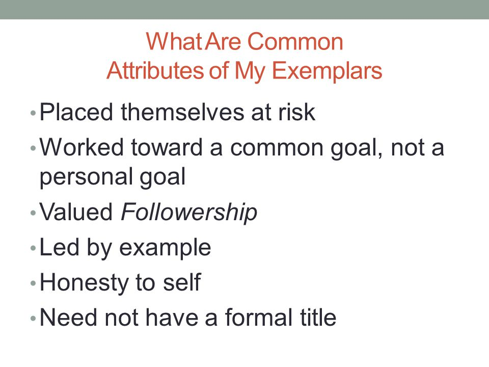 What Are Common Attributes of My Exemplars Placed themselves at risk Worked toward a common goal, not a personal goal Valued Followership Led by example Honesty to self Need not have a formal title