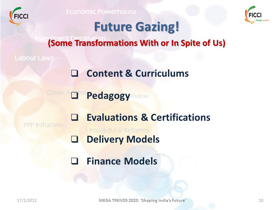 17/1/201210 MEGA TRENDS 2020: 'Shaping India's Future' Future Gazing! (Some Transformations With or In Spite of Us)  Content & Curriculums  Pedagogy