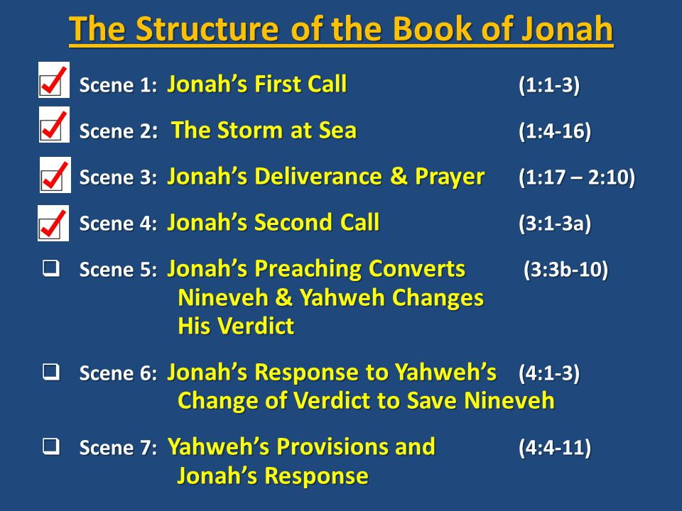 The Structure of the Book of Jonah  Scene 1: Jonah's First Call (1:1-3)  Scene 2 : The Storm at Sea (1:4-16)  Scene 3: Jonah's Deliverance & Prayer (1:17 – 2:10)  Scene 4: Jonah's Second Call (3:1-3a)  Scene 5: Jonah's Preaching Converts (3:3b-10) Nineveh & Yahweh Changes His Verdict  Scene 6: Jonah's Response to Yahweh's (4:1-3) Change of Verdict to Save Nineveh  Scene 7: Yahweh's Provisions and (4:4-11) Jonah's Response