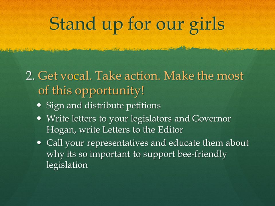 Stand up for our girls 2. Get vocal. Take action.