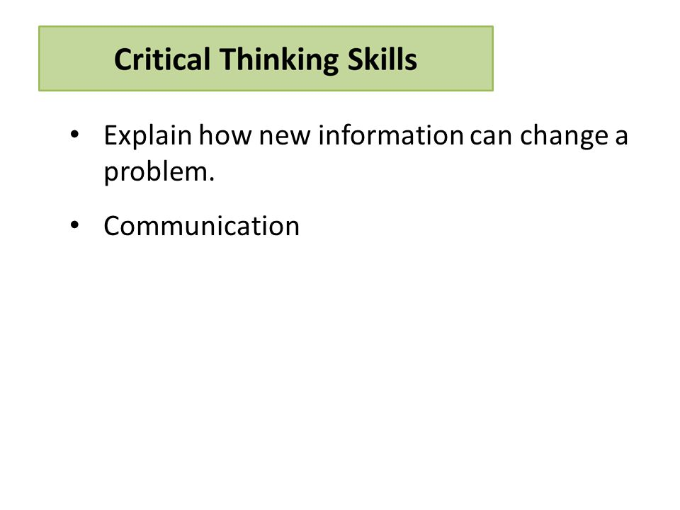 Explain how new information can change a problem. Communication