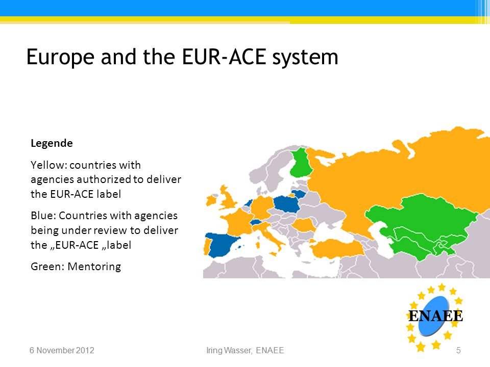 "Iring Wasser, ENAEE6 November 2012 Europe and the EUR-ACE system 6 November 2012Iring Wasser, ENAEE Legende Yellow: countries with agencies authorized to deliver the EUR-ACE label Blue: Countries with agencies being under review to deliver the ""EUR-ACE ""label Green: Mentoring 5"