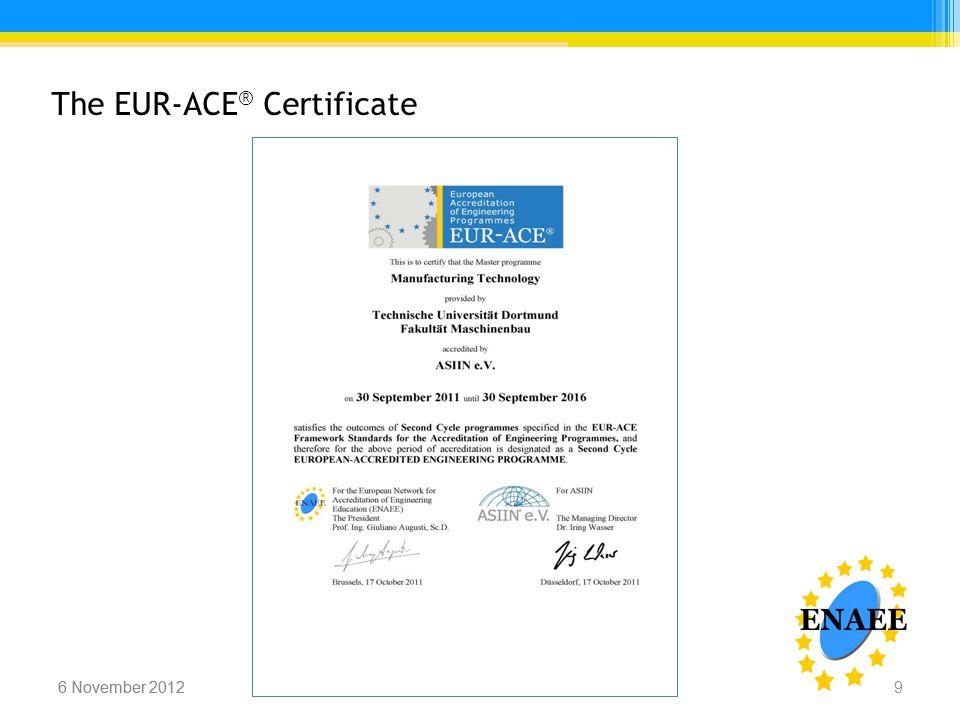 Iring Wasser, ENAEE6 November 2012 The EUR-ACE ® Certificate 6 November 2012Iring Wasser, ENAEE 9