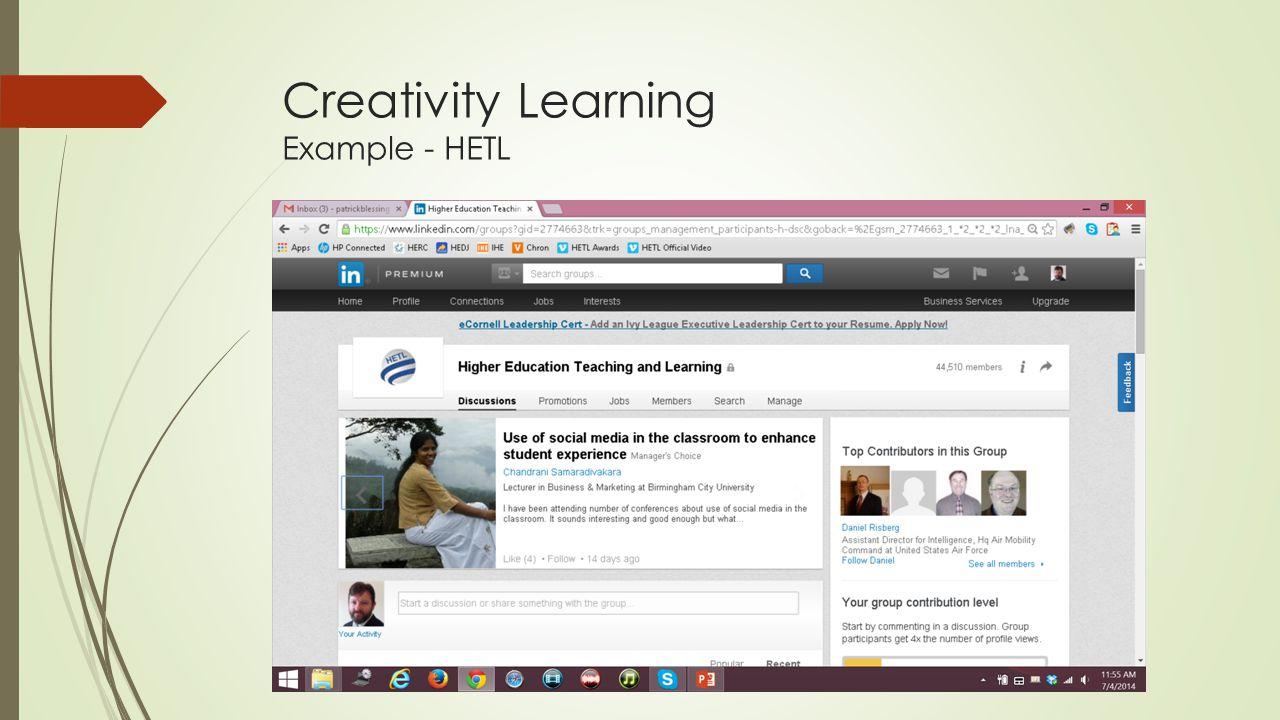 Creativity Learning Example - HETL