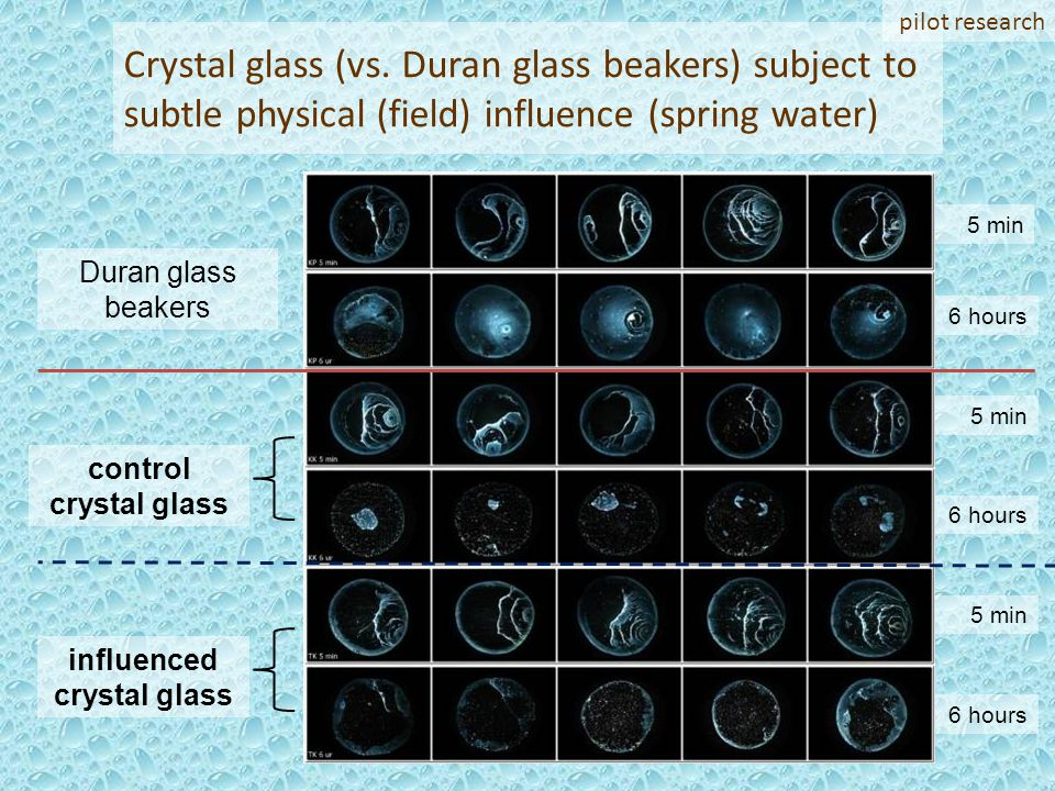 6 hours 5 min 6 hours 5 min 6 hours 5 min Crystal glass (vs. Duran glass beakers) subject to subtle physical (field) influence (spring water) Duran gl