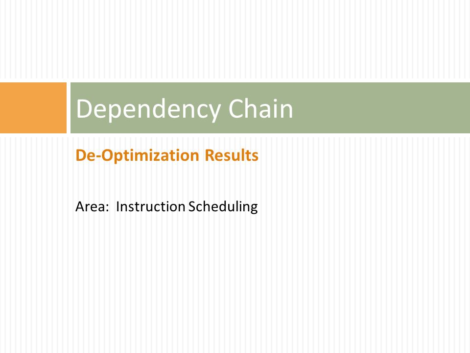 De-Optimization Results Area: Instruction Scheduling Dependency Chain