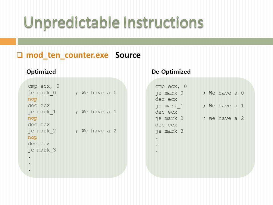 mod_ten_counter.exe cmp ecx, 0 je mark_0 ; We have a 0 nop dec ecx je mark_1 ; We have a 1 nop dec ecx je mark_2 ; We have a 2 nop dec ecx je mark_3.