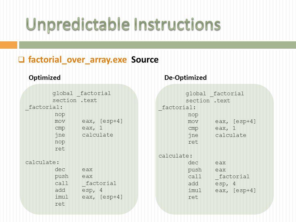  factorial_over_array.exe global _factorial section.text _factorial: nop mov eax, [esp+4] cmp eax, 1 jne calculate nop ret calculate: dec eax push eax call _factorial add esp, 4 imul eax, [esp+4] ret global _factorial section.text _factorial: nop mov eax, [esp+4] cmp eax, 1 jne calculate ret calculate: dec eax push eax call _factorial add esp, 4 imul eax, [esp+4] ret Optimized De-Optimized Source