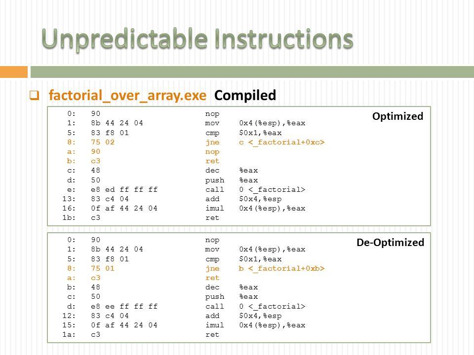  factorial_over_array.exe 0: 90 nop 1: 8b 44 24 04 mov 0x4(%esp),%eax 5: 83 f8 01 cmp $0x1,%eax 8: 75 02 jne c a: 90 nop b: c3 ret c: 48 dec %eax d: 50 push %eax e: e8 ed ff ff ff call 0 13: 83 c4 04 add $0x4,%esp 16: 0f af 44 24 04 imul 0x4(%esp),%eax 1b: c3 ret 0: 90 nop 1: 8b 44 24 04 mov 0x4(%esp),%eax 5: 83 f8 01 cmp $0x1,%eax 8: 75 01 jne b a: c3 ret b: 48 dec %eax c: 50 push %eax d: e8 ee ff ff ff call 0 12: 83 c4 04 add $0x4,%esp 15: 0f af 44 24 04 imul 0x4(%esp),%eax 1a: c3 ret Optimized De-Optimized Compiled