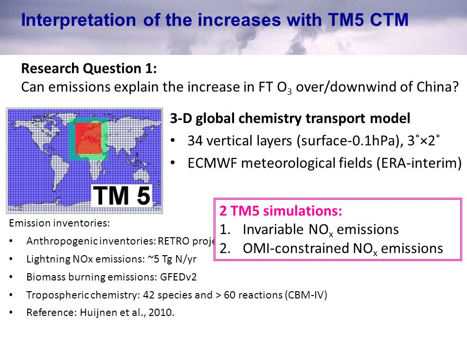 Interpretation of the increases with TM5 CTM Research Question 1: Can emissions explain the increase in FT O 3 over/downwind of China.