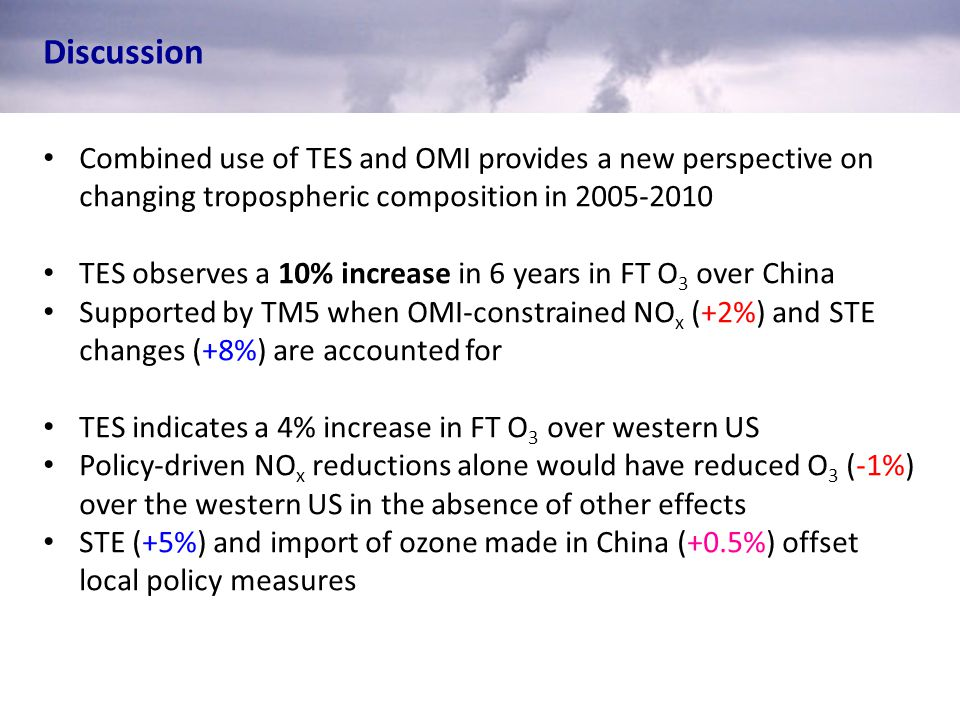 Discussion Combined use of TES and OMI provides a new perspective on changing tropospheric composition in 2005-2010 TES observes a 10% increase in 6 y
