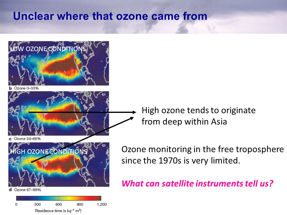 Unclear where that ozone came from High ozone tends to originate from deep within Asia LOW OZONE CONDITIONS HIGH OZONE CONDITIONS Ozone monitoring in the free troposphere since the 1970s is very limited.