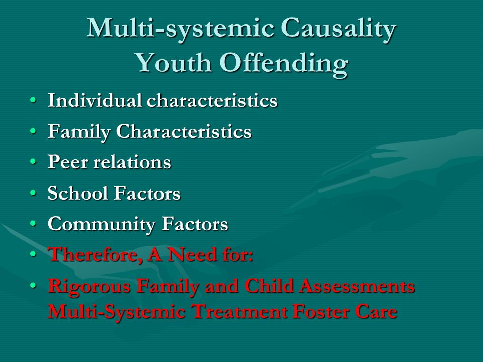 Multi-systemic Causality Youth Offending Individual characteristicsIndividual characteristics Family CharacteristicsFamily Characteristics Peer relationsPeer relations School FactorsSchool Factors Community FactorsCommunity Factors Therefore, A Need for:Therefore, A Need for: Rigorous Family and Child Assessments Multi-Systemic Treatment Foster CareRigorous Family and Child Assessments Multi-Systemic Treatment Foster Care