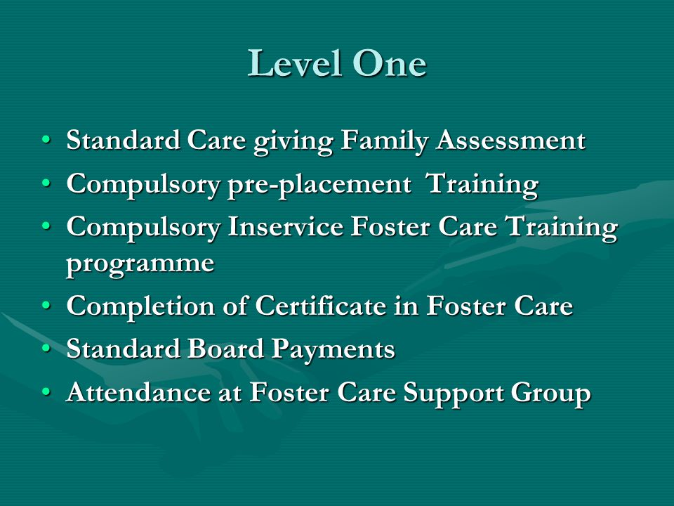 Level One Standard Care giving Family AssessmentStandard Care giving Family Assessment Compulsory pre-placement TrainingCompulsory pre-placement Training Compulsory Inservice Foster Care Training programmeCompulsory Inservice Foster Care Training programme Completion of Certificate in Foster CareCompletion of Certificate in Foster Care Standard Board PaymentsStandard Board Payments Attendance at Foster Care Support GroupAttendance at Foster Care Support Group