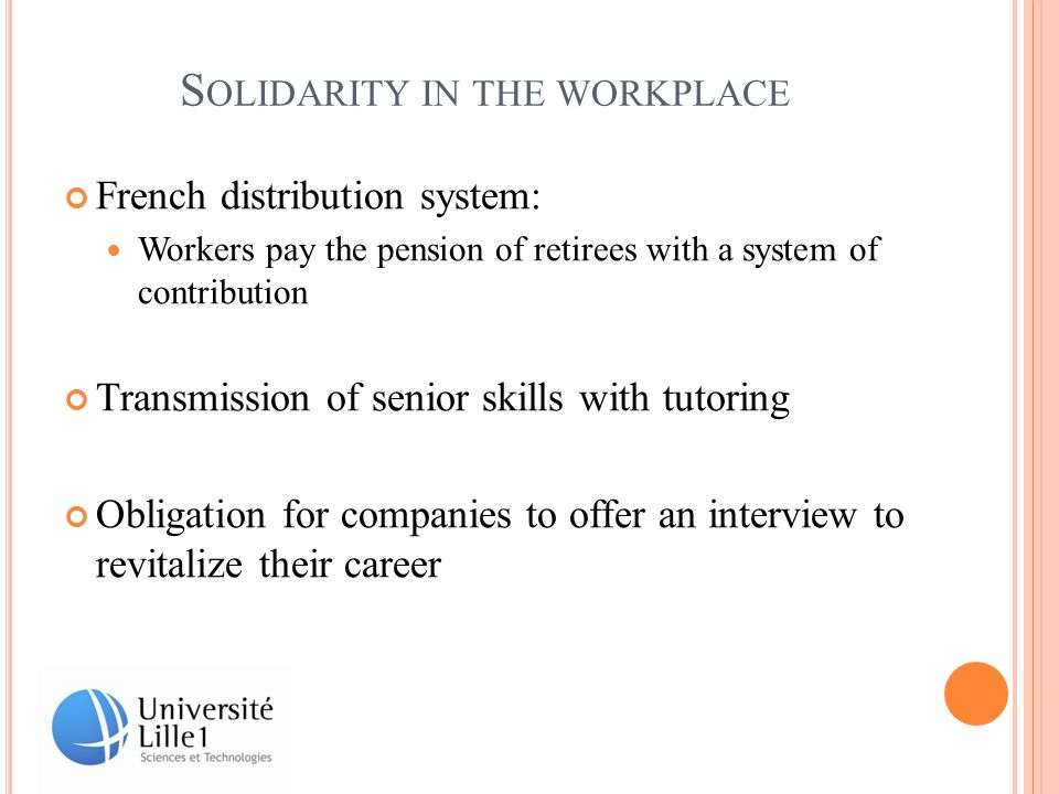 S OLIDARITY IN THE WORKPLACE French distribution system: Workers pay the pension of retirees with a system of contribution Transmission of senior skills with tutoring Obligation for companies to offer an interview to revitalize their career