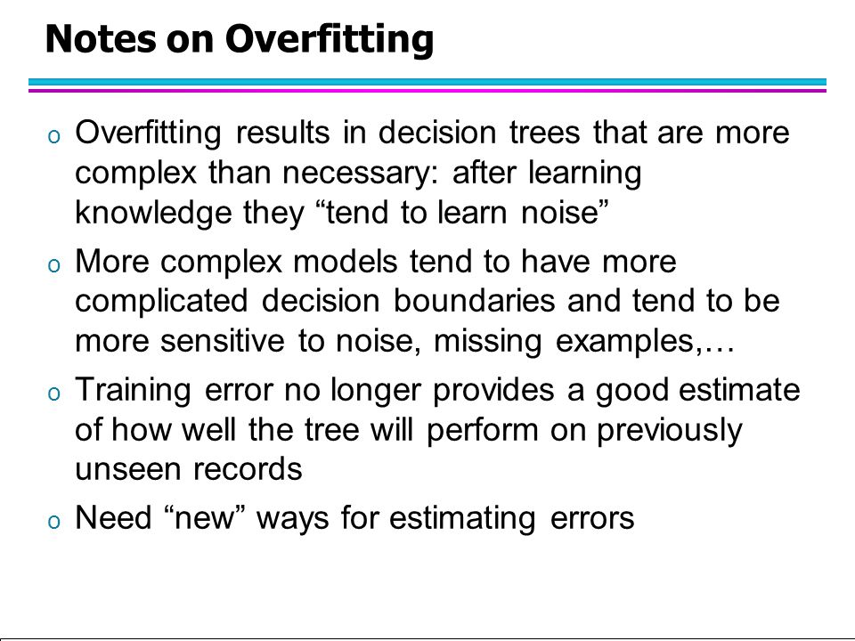 Tan,Steinbach, Kumar Introduction to Classification (with major additions/modifications by Ch. Eick) 10/1/2012 Notes on Overfitting o Overfitting resu