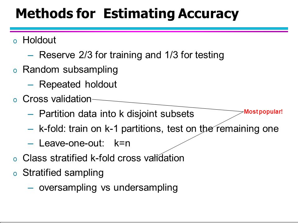 Tan,Steinbach, Kumar Introduction to Classification (with major additions/modifications by Ch. Eick) 10/1/2012 Methods for Estimating Accuracy o Holdo