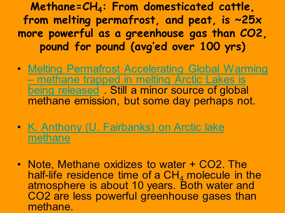 Methane=CH 4 : From domesticated cattle, from melting permafrost, and peat, is ~25x more powerful as a greenhouse gas than CO2, pound for pound (avg'e