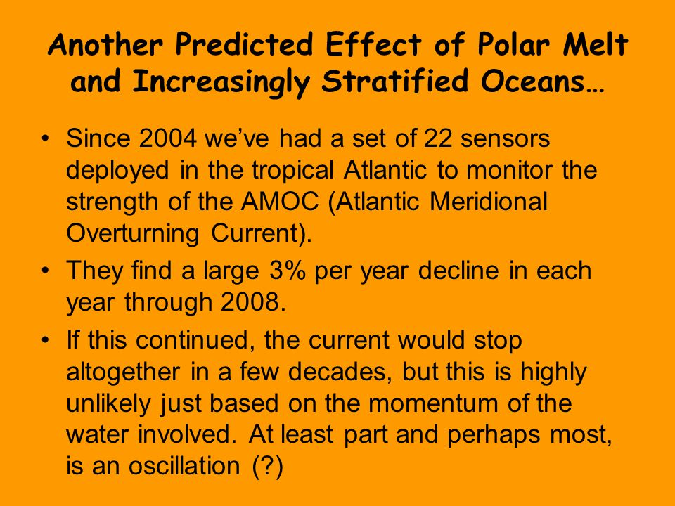 Another Predicted Effect of Polar Melt and Increasingly Stratified Oceans… Since 2004 we've had a set of 22 sensors deployed in the tropical Atlantic to monitor the strength of the AMOC (Atlantic Meridional Overturning Current).