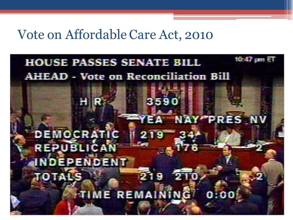 Vote on Affordable Care Act, 2010