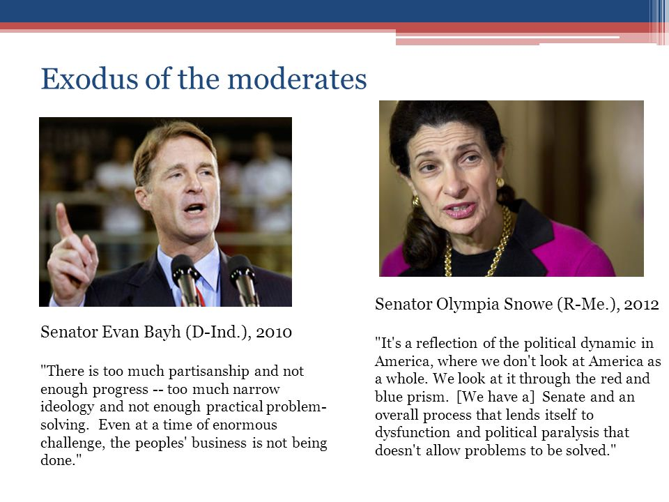 Exodus of the moderates Senator Evan Bayh (D-Ind.), 2010