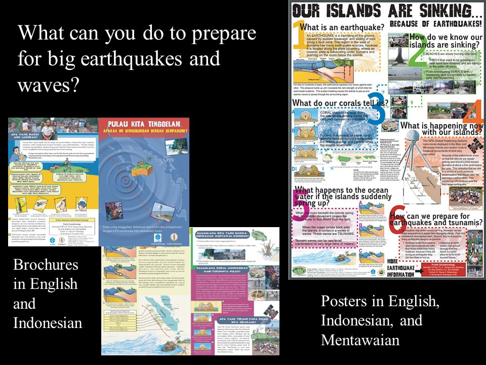 Posters in English, Indonesian, and Mentawaian Brochures in English and Indonesian What can you do to prepare for big earthquakes and waves?