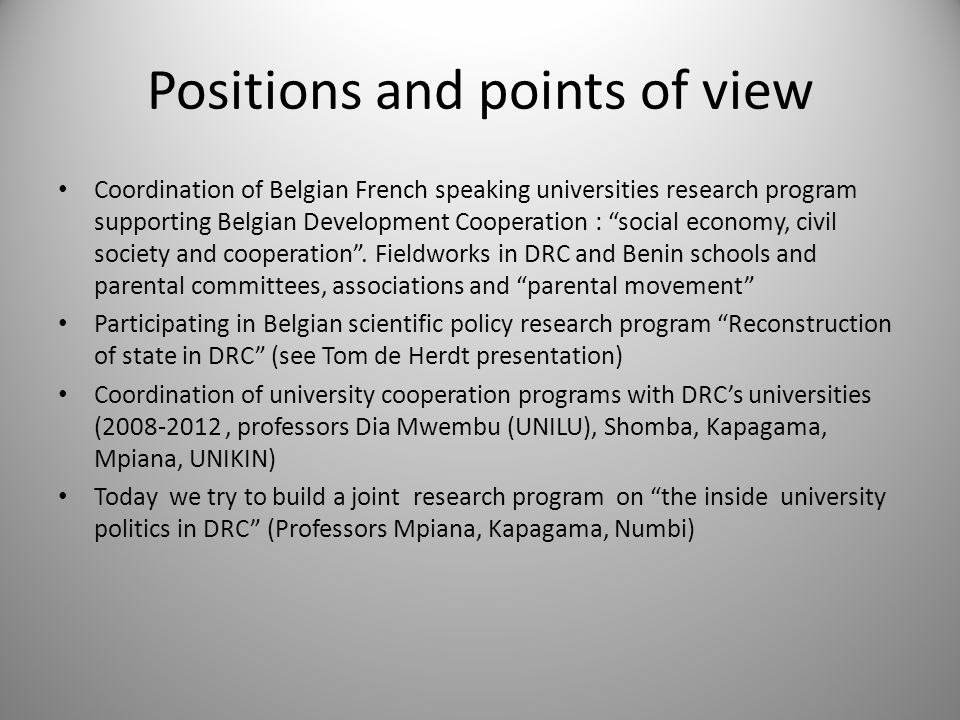 """Positions and points of view Coordination of Belgian French speaking universities research program supporting Belgian Development Cooperation : """"socia"""