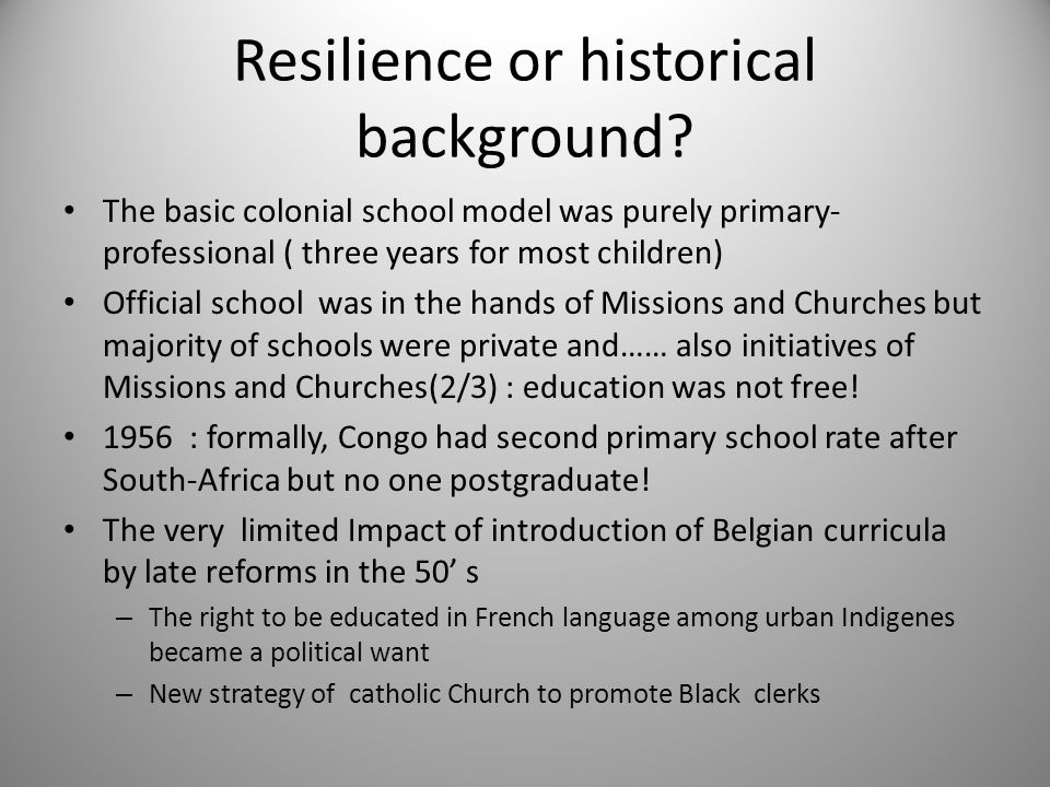 1960-65 : the making of a conservative national consensus between new leaders and churches – the model became very elitist in few schools using French language.